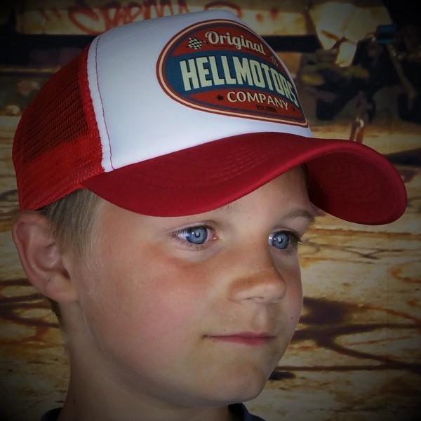 """HELLMOTORS KINDER CAP """"Hellmotors original""""-rot-weiß"""