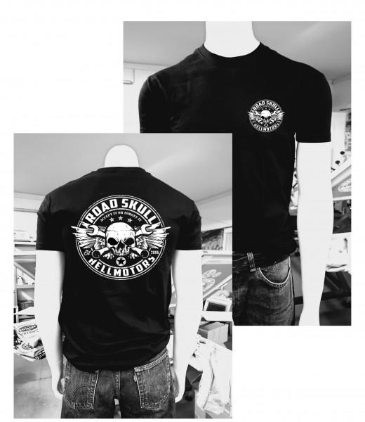 Herren Biker T-Shirt Road Skull schwarz