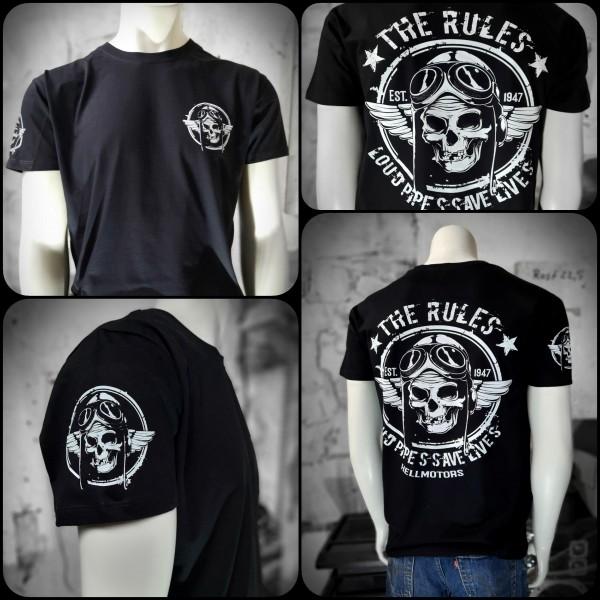 Biker Herren T-Shirt Old School Biker Rules zweiseitig