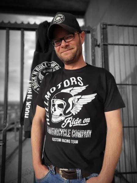 Herren Biker T-Shirt Ride on vorn einfarbig