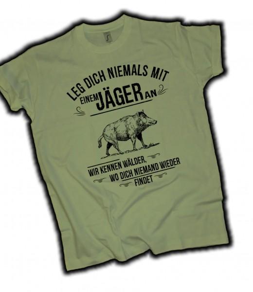"Herren Fun T-Shirt ""Jäger"" - Oliv"