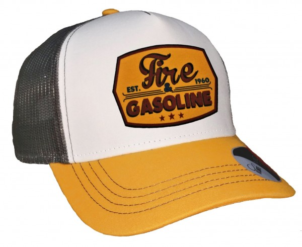 Trucker Cap - Fire & Gasoline - Canvas Grau/Weiß/Goldgelb