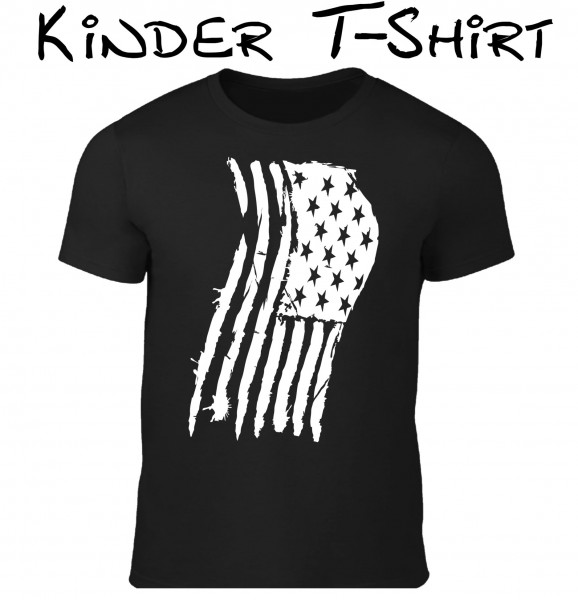 Kinder T-Shirt Usa Flagge schwarz