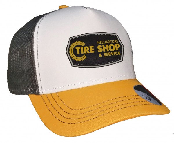 Trucker Cap - Tire Shop - Canvas Grau/Weiß/Goldgelb