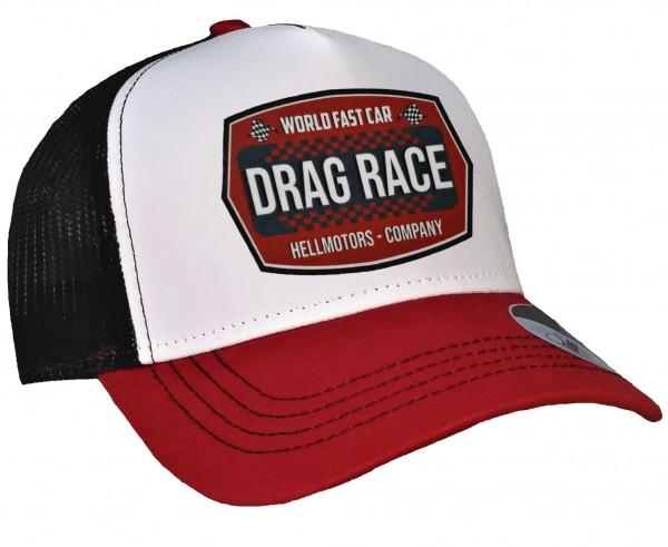 Trucker Cap - Drag Race - Canvas Rot / Schwarz / WEiß