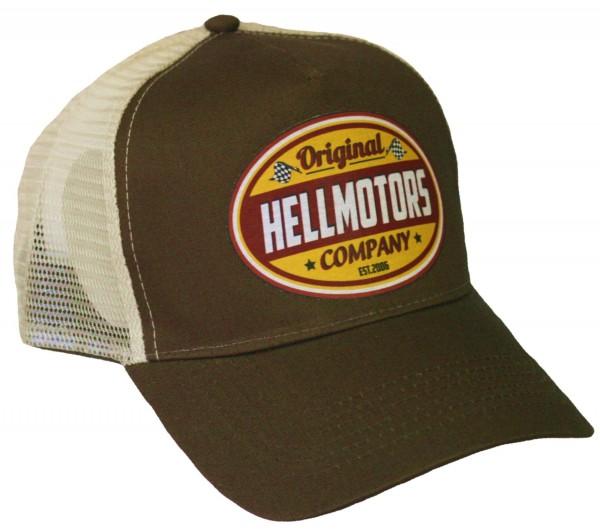 """HELLMOTORS Trucker CAP """"Retro Logo"""" braun gelb"""