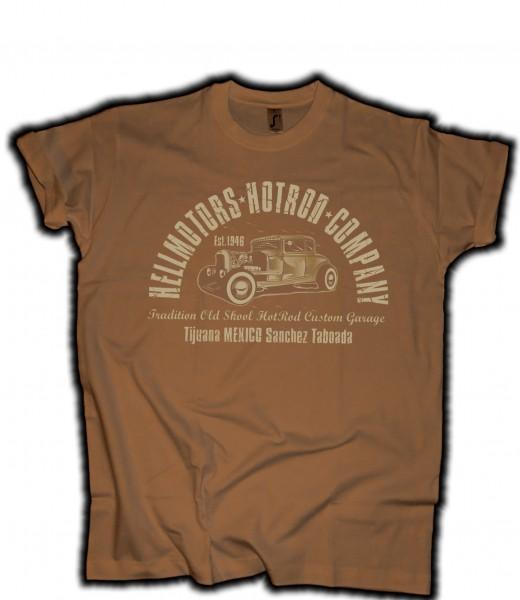 "Herren T-Shirt Hot Rod ""Sanchez"" braun"