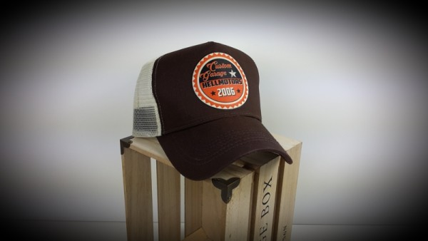 "HELLMOTORS Trucker CAP ""Custom Garage"" chocolate"