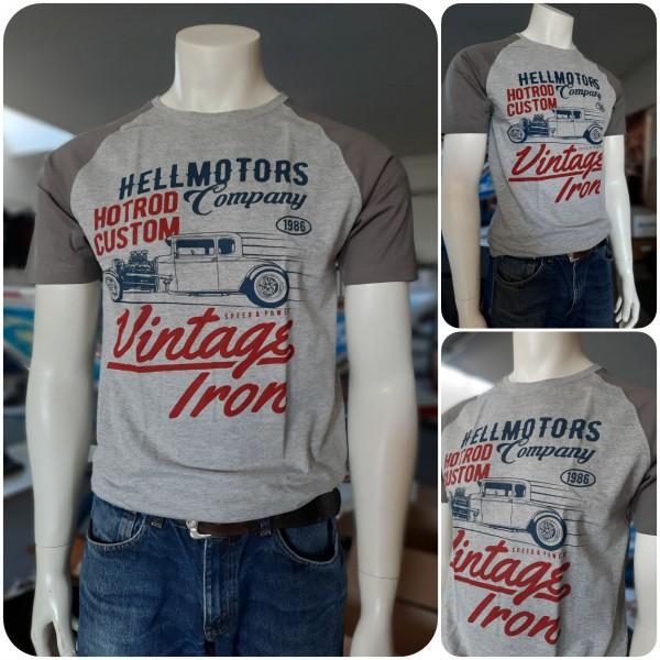 Herren Hot Rod Baseball T-Shirt Vintage Iron