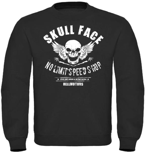 Herren Sweatshirt Skull Face Drucke vorne groß