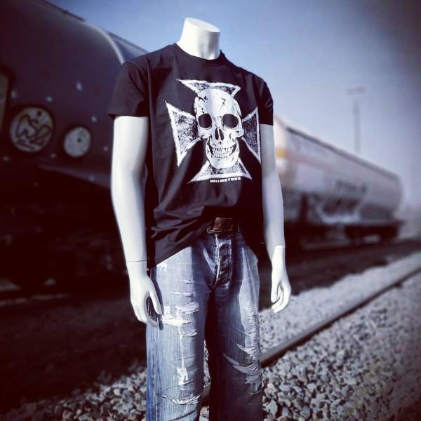 Herren Biker T-Shirt Skull Cross nur vorn