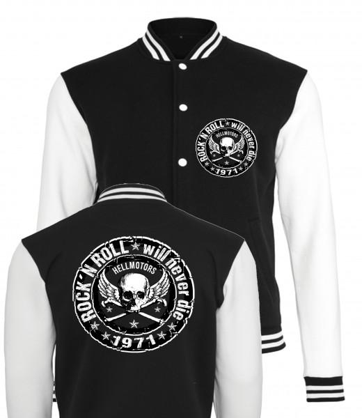 Herren College Jacke Rock N Roll schwarz/weiss