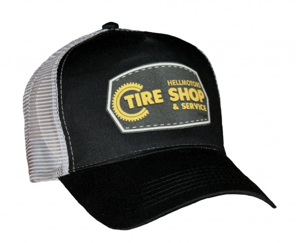 "HELLMOTORS Trucker CAP ""Tire Shop"" schwarz/grau"