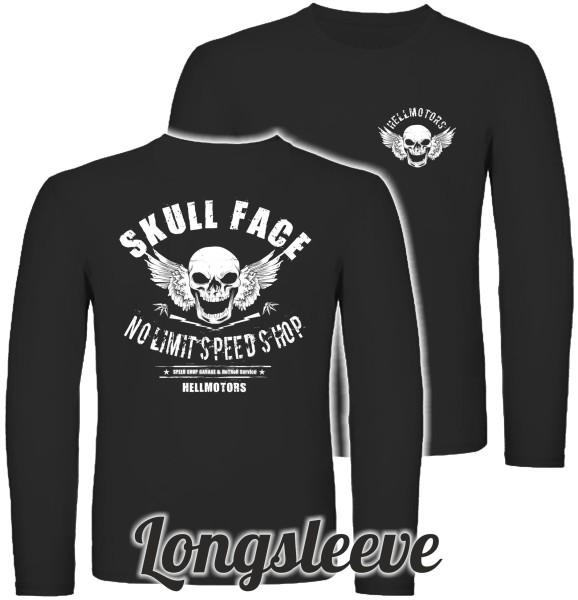 Herren Longsleeve Skull Face beidseitig