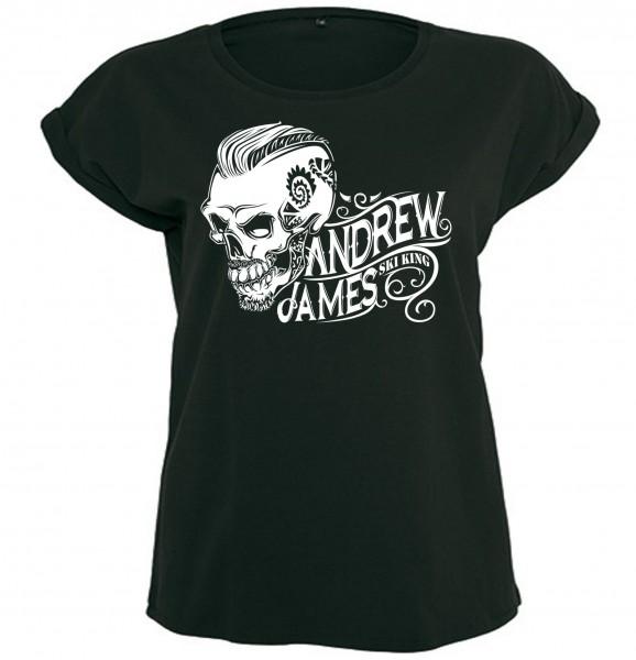 Andrew James Ski King Tattooed Skull Girly T-Shirt
