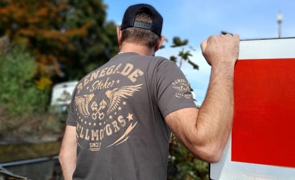 Herren Old School Biker T-Shirt Renegade grau
