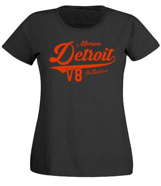 Damen T-Shirt Detroit Michigan schwarz
