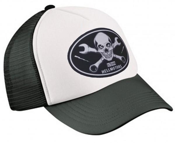 "HELLMOTORS TRUCKER CAP ""Skull Wrench"" schwarz/weiß"