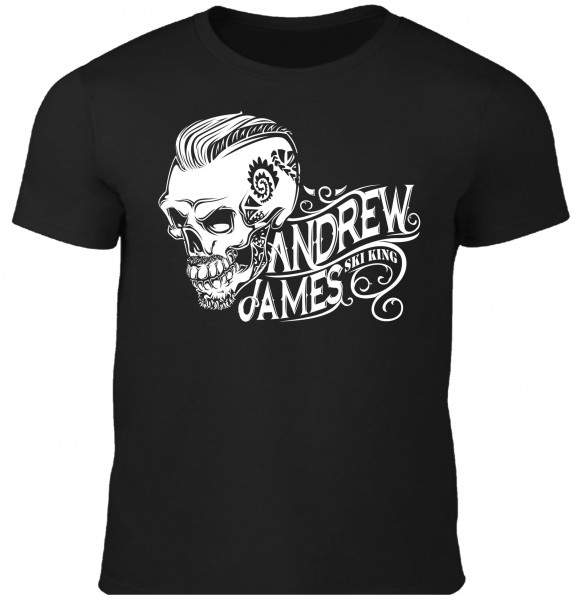 Andrew James Ski King Tattooed Skull Männer T-Shirt Druck vorne